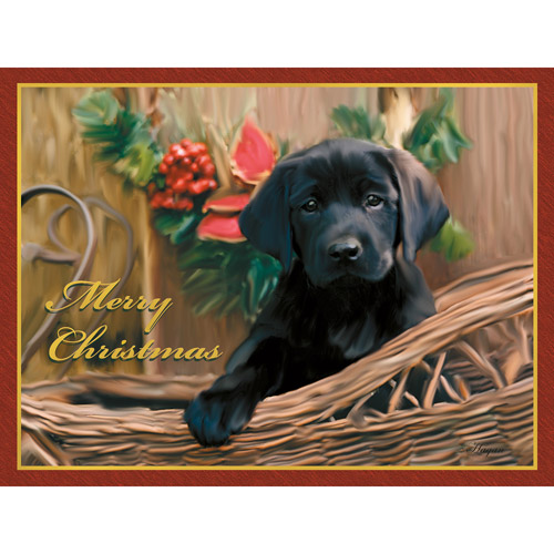 Lang Black Lab Pup Deluxe Boxed Christ