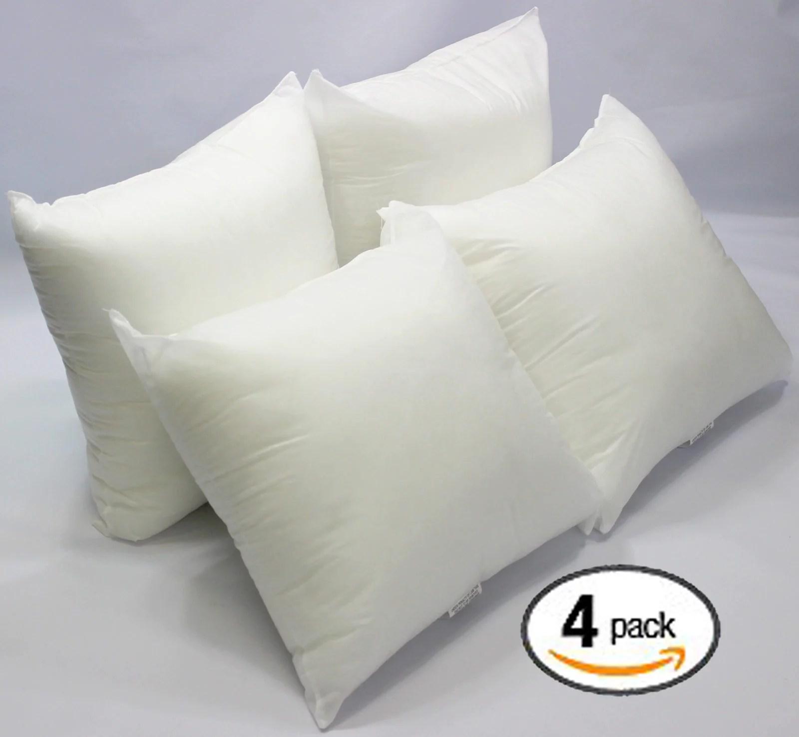 set of 4 18 x 18 premium hypoallergenic stuffer pillow insert sham square form polyester standard white made in usa