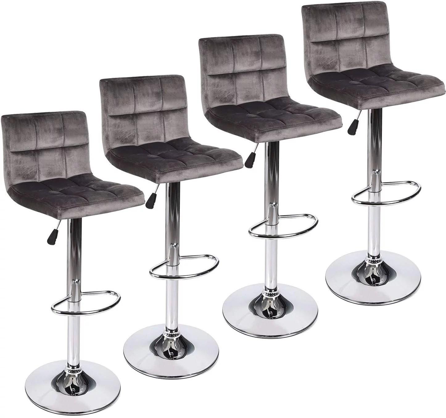 Elecwish Set Of 4 Gray Velvet Fabric Armless Chair Adjustable Swivel Hydraulic Bar Stool Square Island Kitchen Counter Barstools With Back Walmart Com Walmart Com