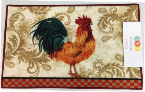 rooster kitchen rug sink clogged soho with non skid back walmart com