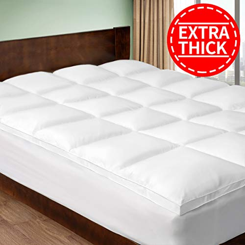 chokit extra thick cal king mattress topper cooling cotton mattress paover 400 tc pillow top construction 8 21inch deep pocked ct 2 inches thick