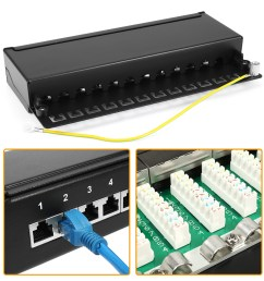 12 port wallmount cat 5e patch panel t568a t568b shielded rj45 ethernet [ 1100 x 1100 Pixel ]