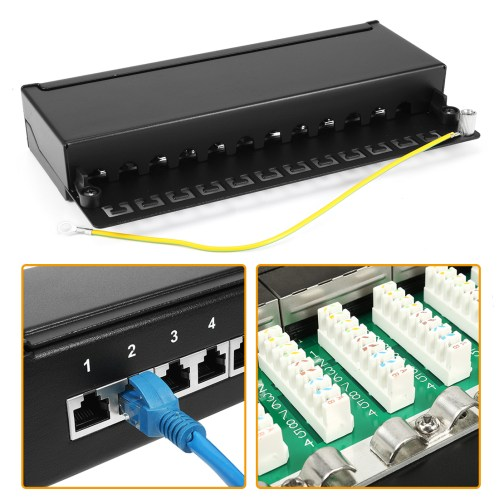 small resolution of 12 port wallmount cat 5e patch panel t568a t568b shielded rj45 ethernet