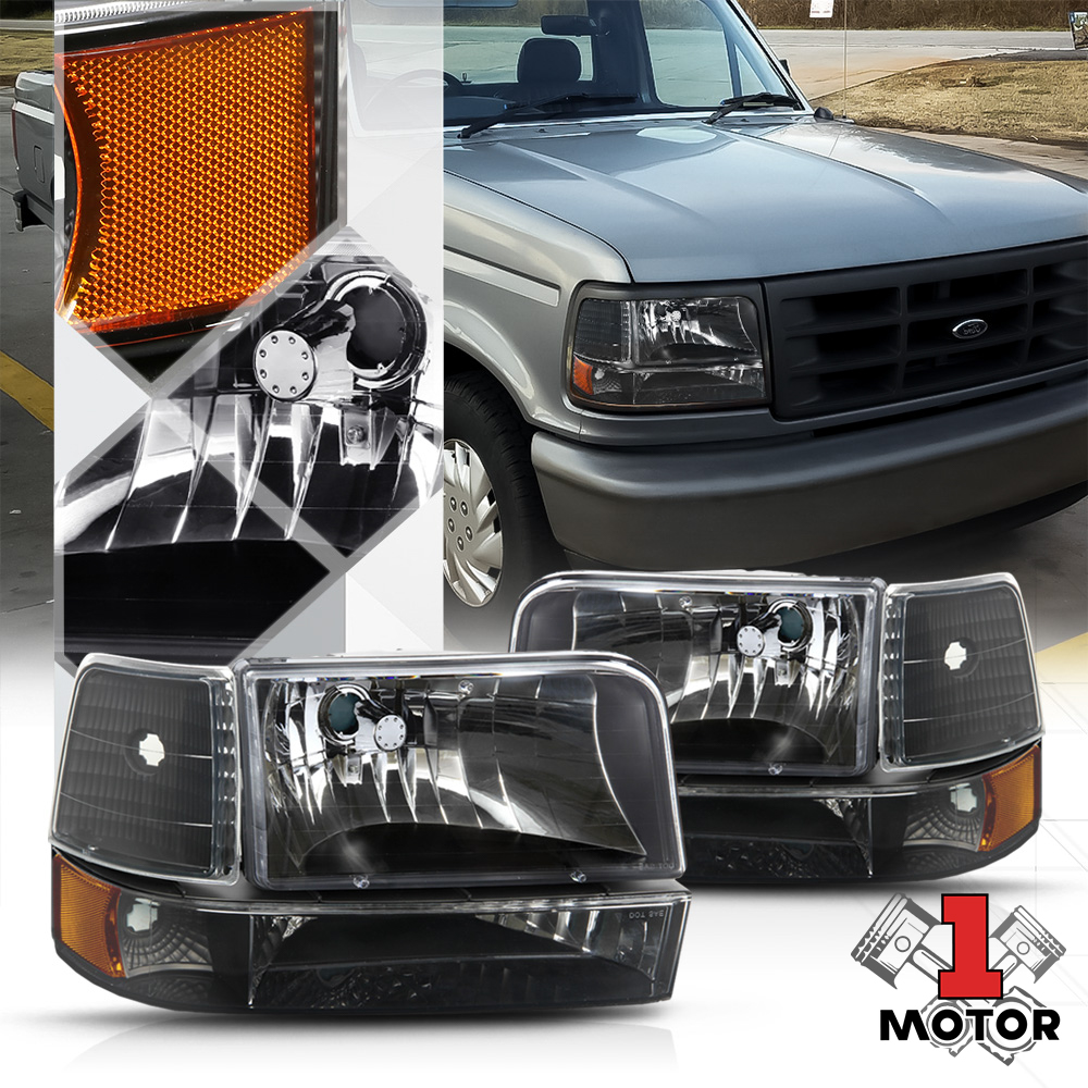 hight resolution of black housing headlight amber corner reflector for 92 96 f150 f250 f350 bronco 93 94 95 walmart com