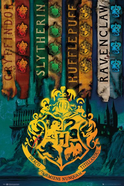 harry potter movie poster print the hogwarts house flags size 24 x 36