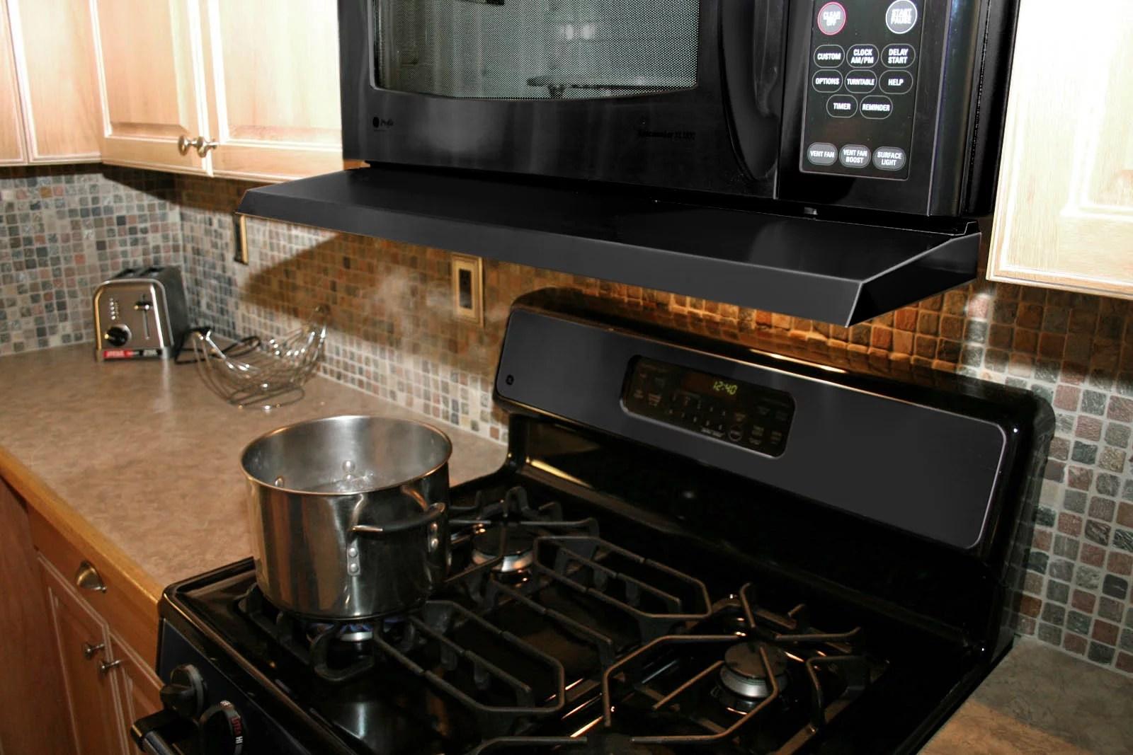 microvisor removable mini hood extension for microwave over the range black