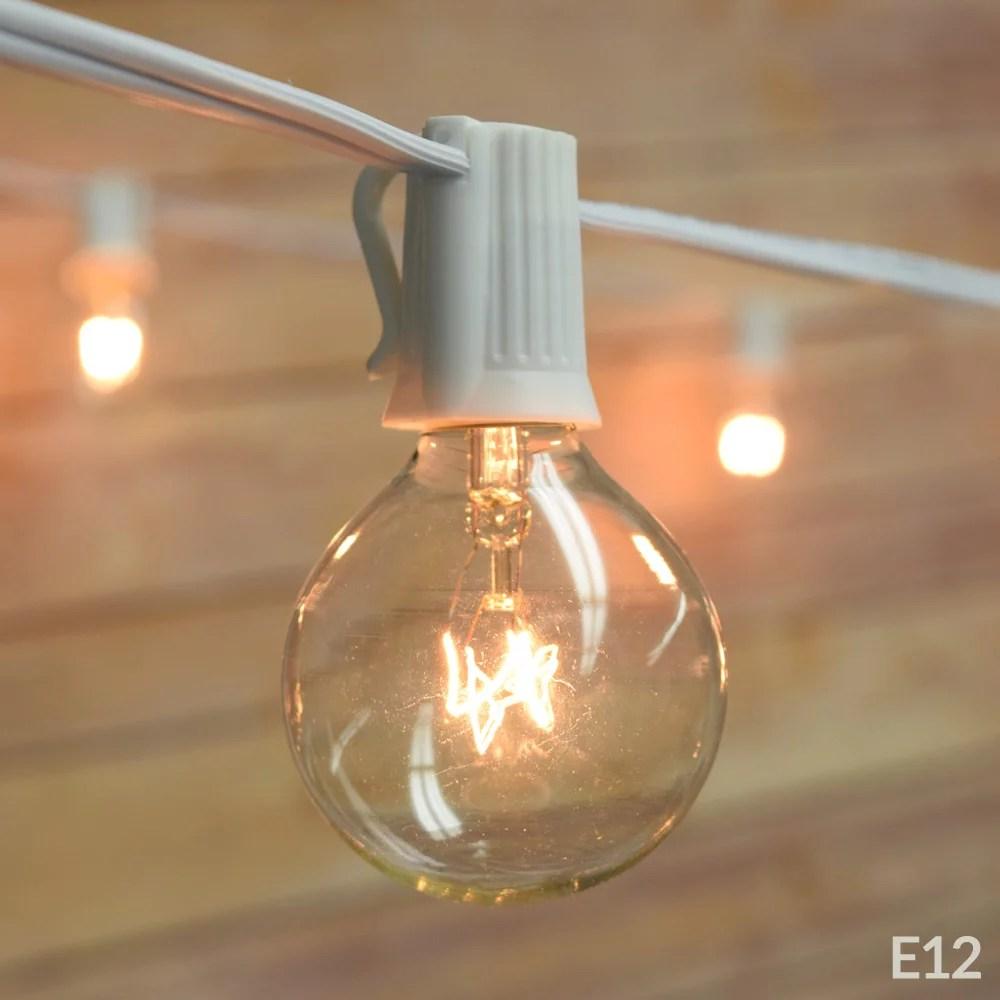 fantado 10 socket outdoor patio string light set g40 clear globe bulbs 12 ft white cord w e12 c7 base by paperlanternstore walmart com