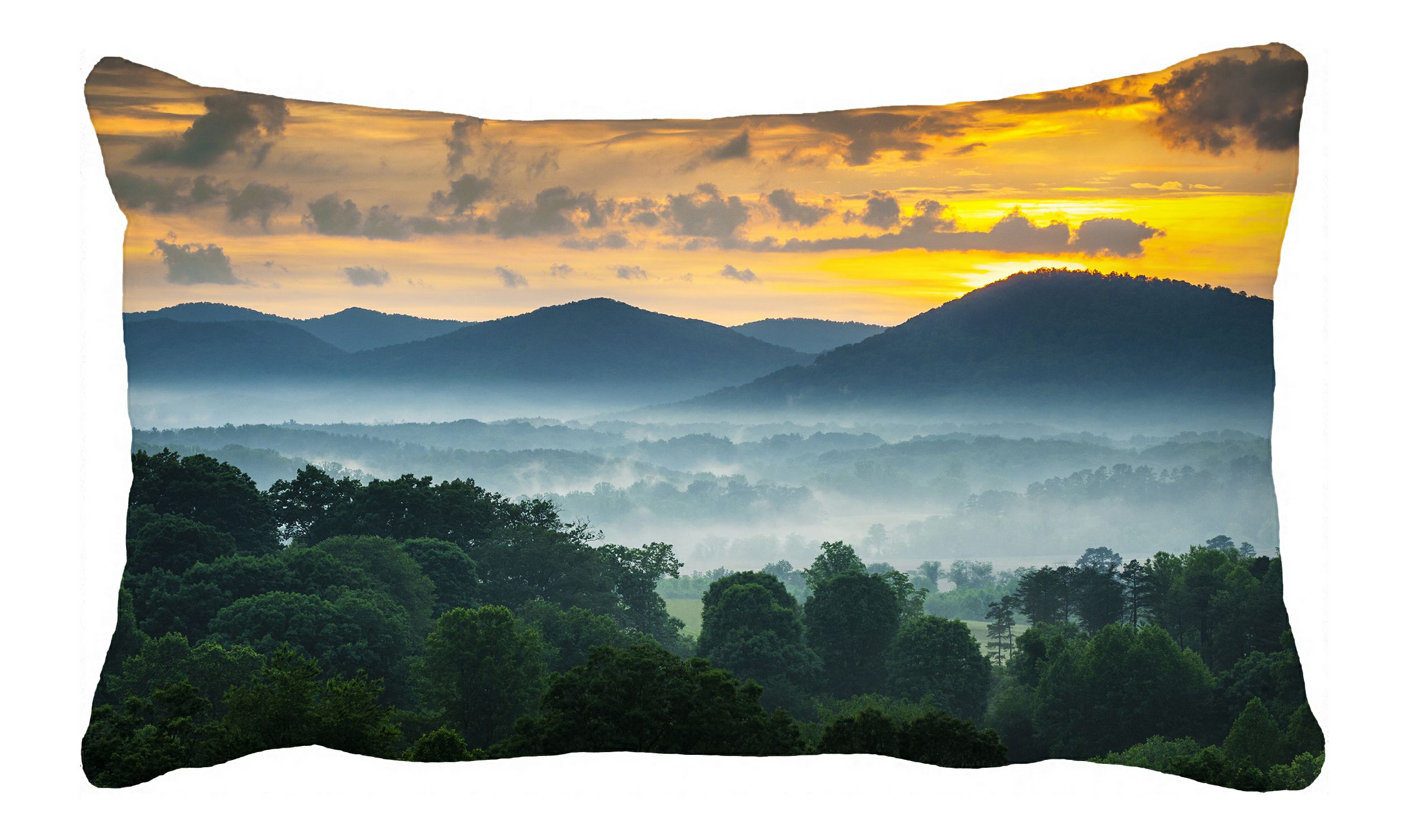 phfzk green forest pillow case fog landscape with mountains at sunset carolina pillowcase throw pillow cushion cover two sides size 20x30 inches