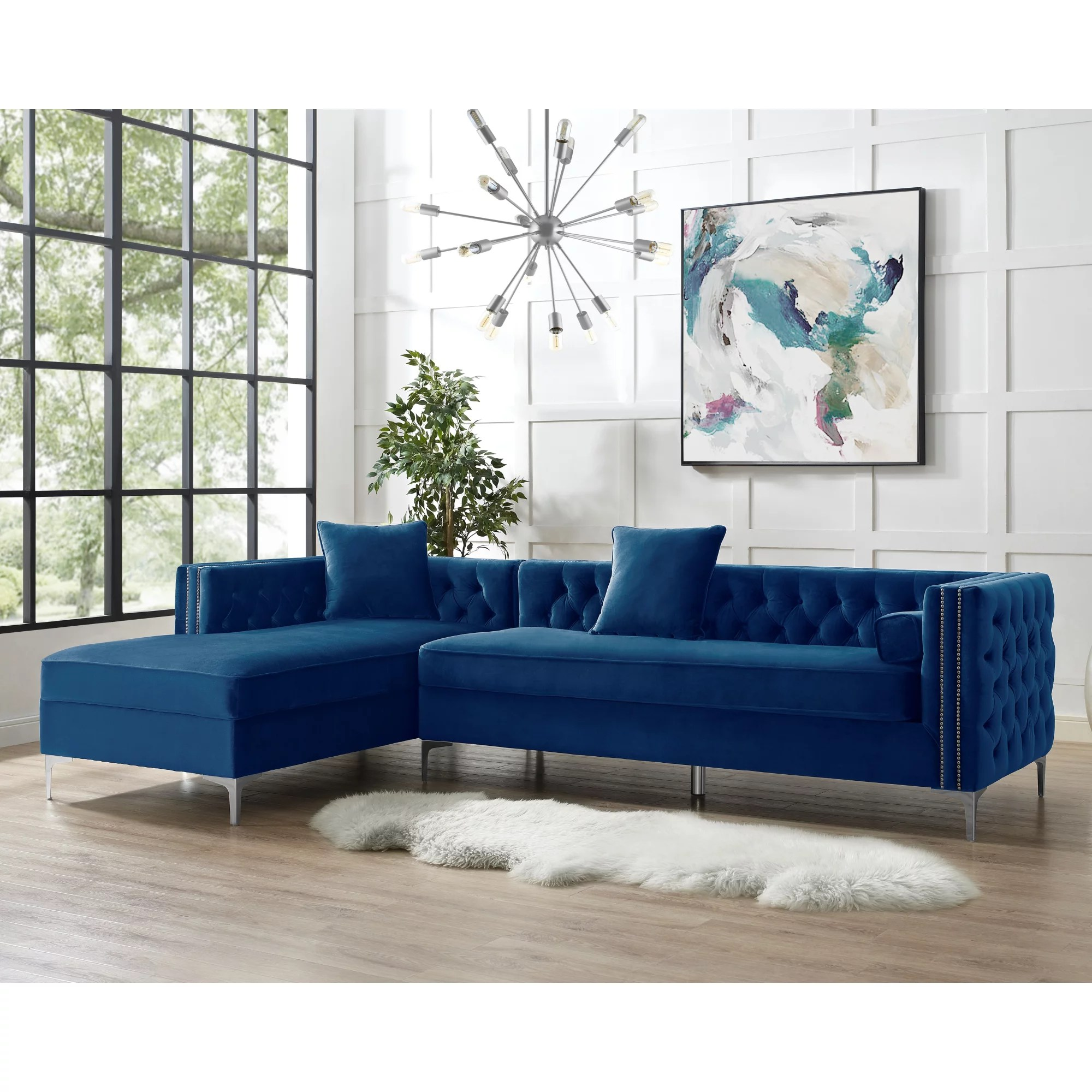 inspired home sania velvet chaise sectional sofa 115 left facing button tufted nailhead trim navy