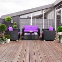 gymax 4pc rattan patio furniture