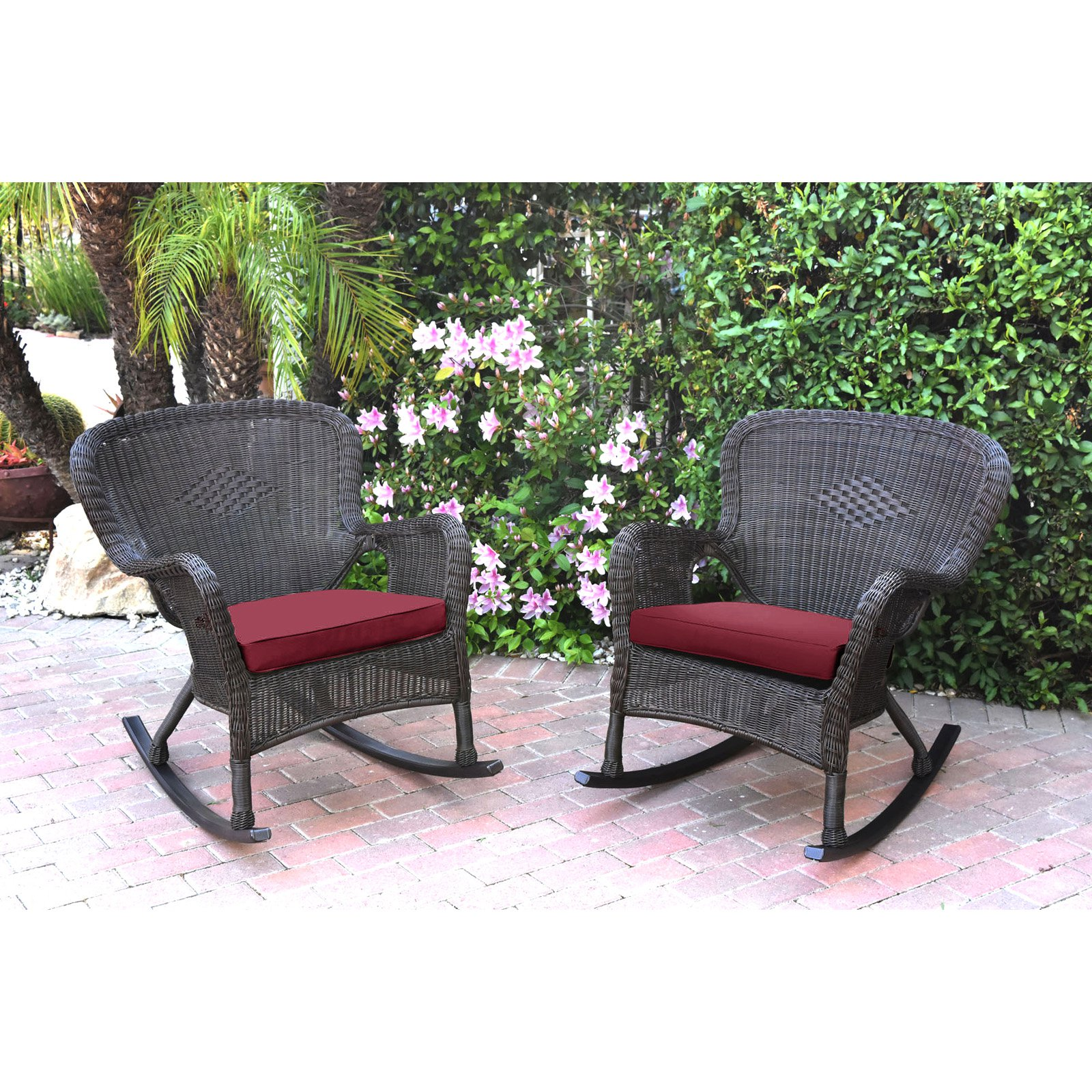 Outdoor Rocking Chair Set Jeco Windsor Resin Wicker Outdoor Rocking Chair Set Of 2