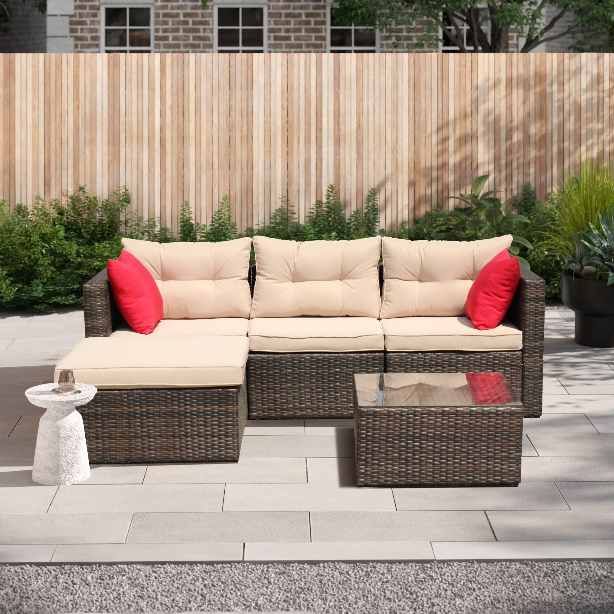outdoor wicker sectional seating for patio 2021 upgrade 5 piece conversation furniture set w sectional chaise longue tempered glass coffee table 7