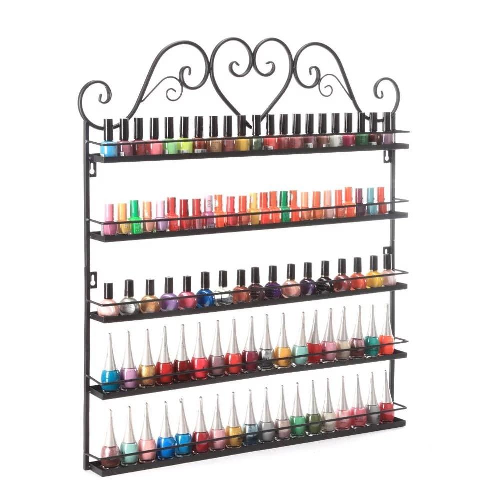 dazone nail polish wall rack 5 layer organizer holds 100 bottles nail polish shelves black