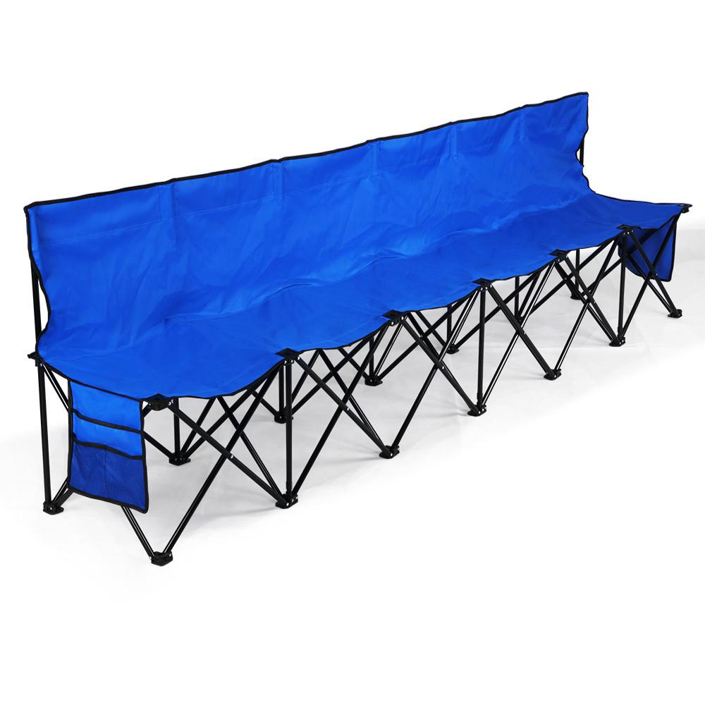 sport folding chairs portable lounge lightweight bench chair camping outdoor team 6 seater blue bleacher sideline seats with back sidebags a