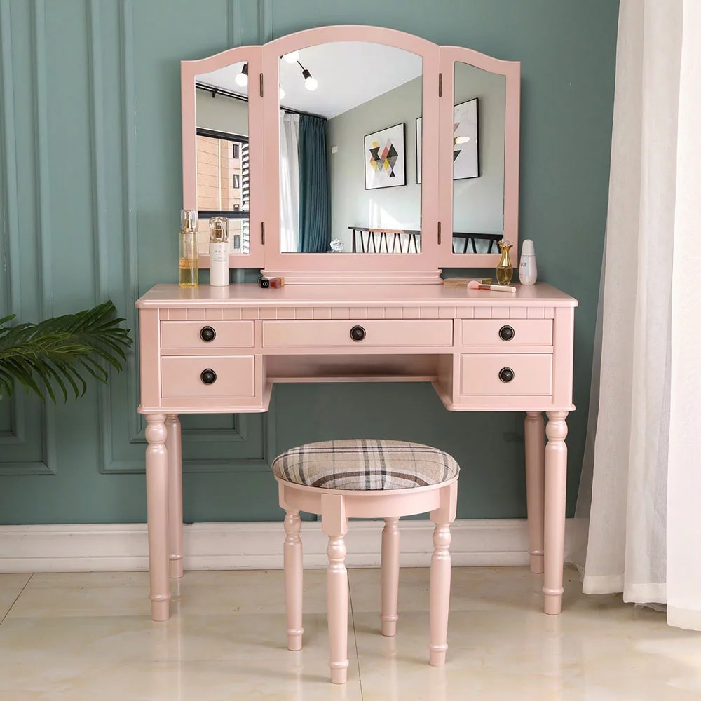 urhomepro white vanity sets with mirror and bench modern vanity desk bedroom vanity table with detachable top 180 rotating mirror makeup dressing
