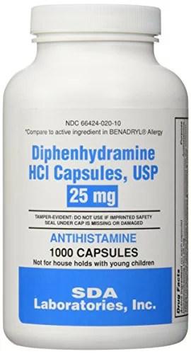 Generic Benadryl Allergy - Diphenhydramine (25mg) - 1000 ...