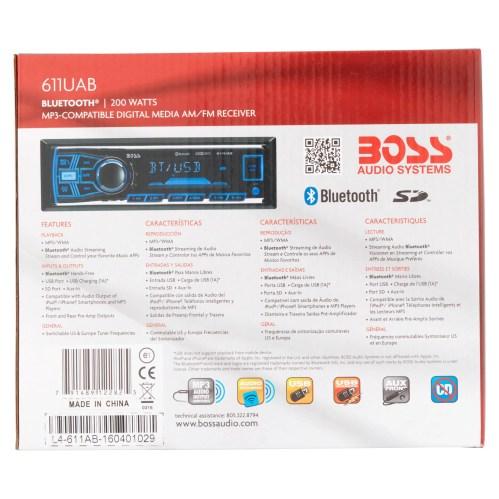 small resolution of boss 611uab boss audio 611uab single din mech less receiver bluetooth in dash mp3 wma am fm 12 18 x am fm preset sd bluetooth usb