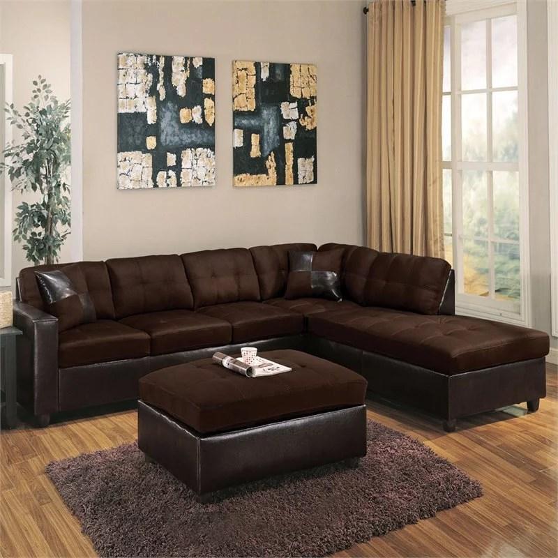 acme sectional sofa chocolate set deals in toronto milano reversible walmart com