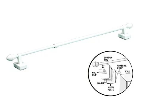 magnetic expandable universal curtain rod works on metal or wooden frames