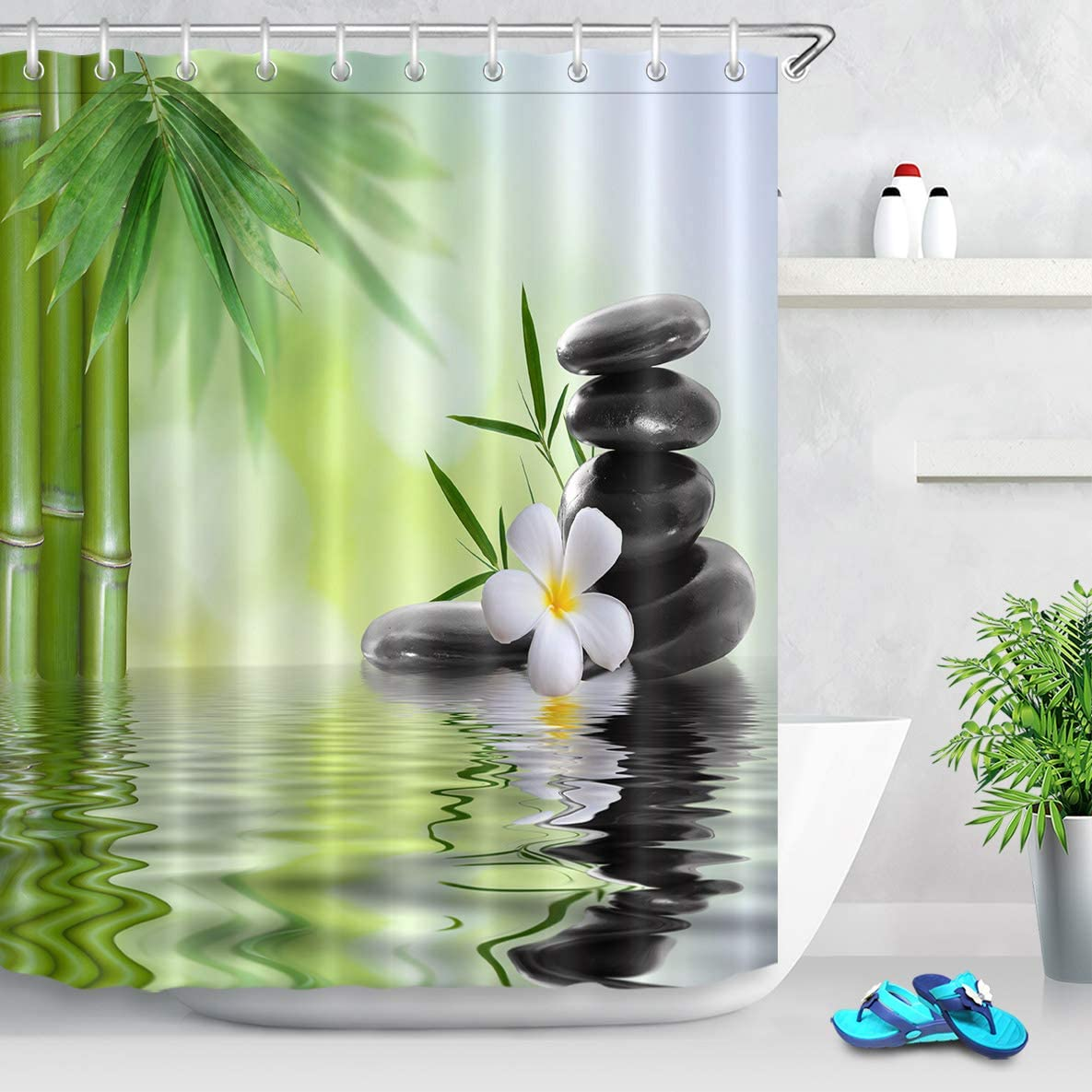 spa shower curtain with hooks black stones orchids bamboo water bath curtain 180w x 200h cm water repellent washable anti mold polyester factory