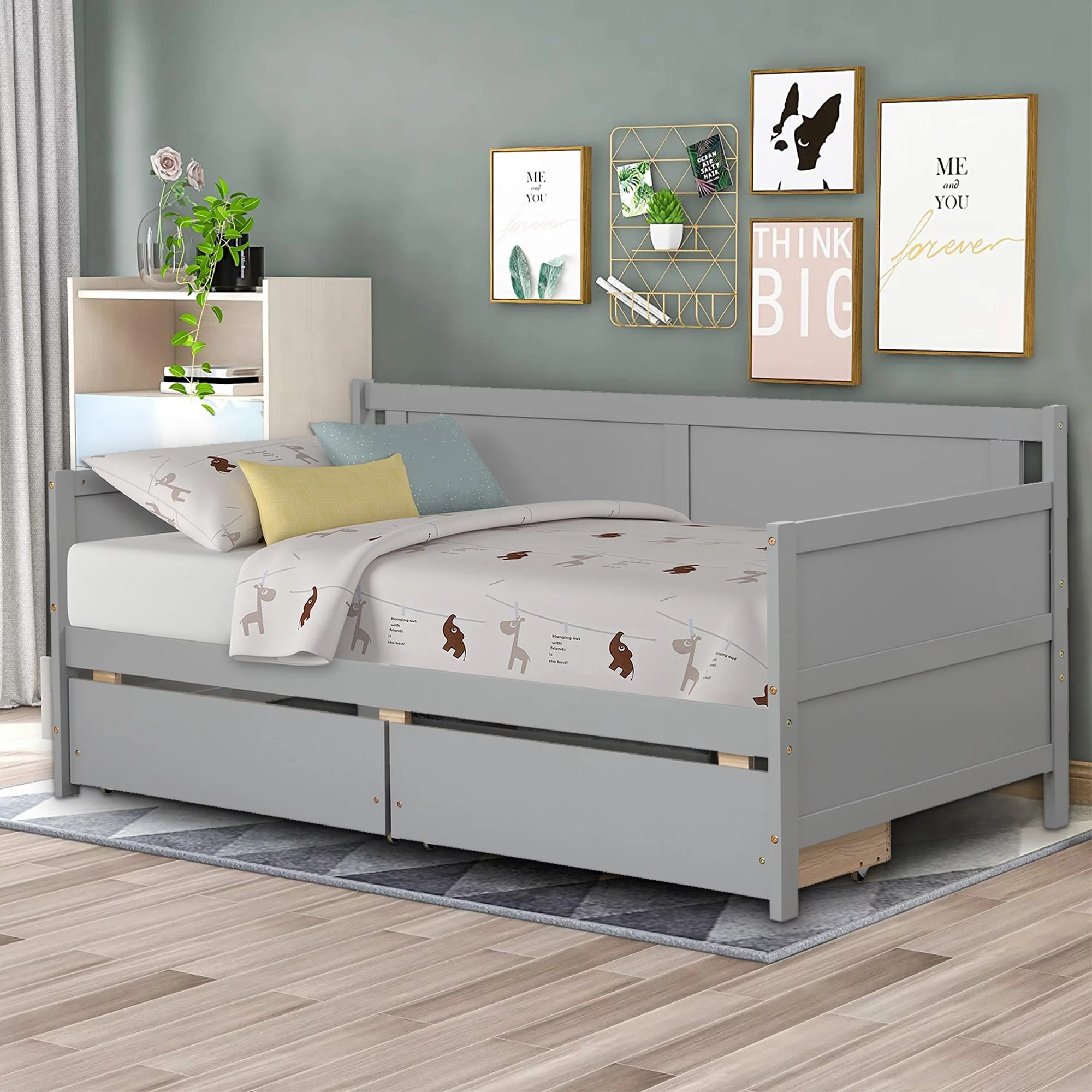 Twin Daybed Bed, 2021 Stylish Modern Captain's Bed with 2 Storage Drawers, Wood Farmhouse Twin ...