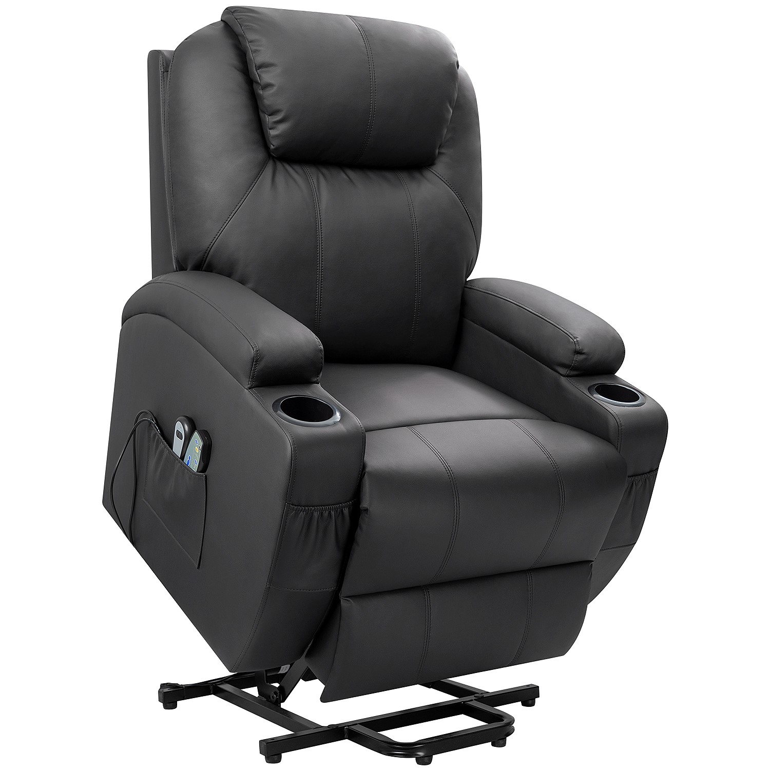 walnew power lift recliner with massage and heat black faux leather