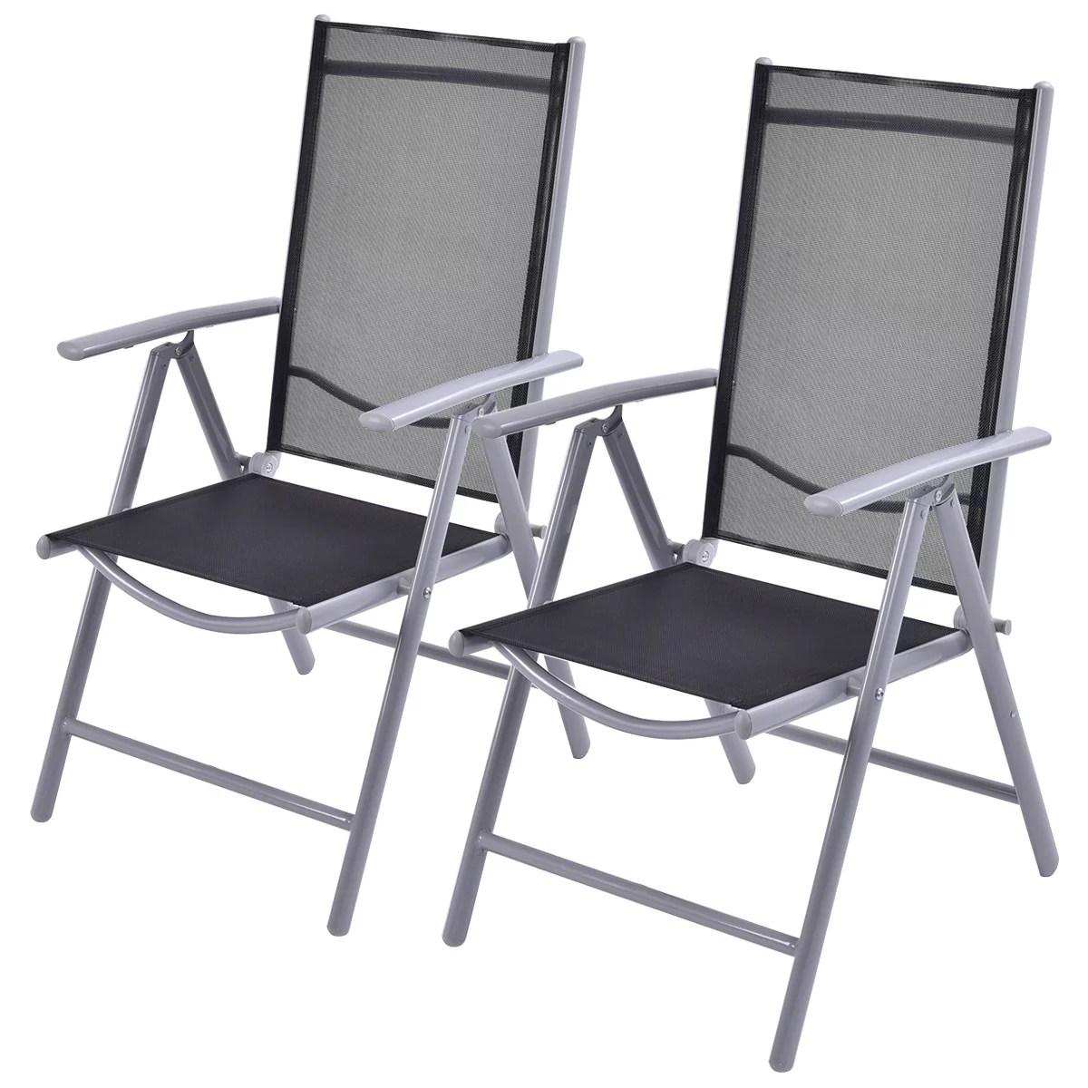 costway set of 2 patio folding chairs adjustable reclining indoor outdoor garden pool walmart com