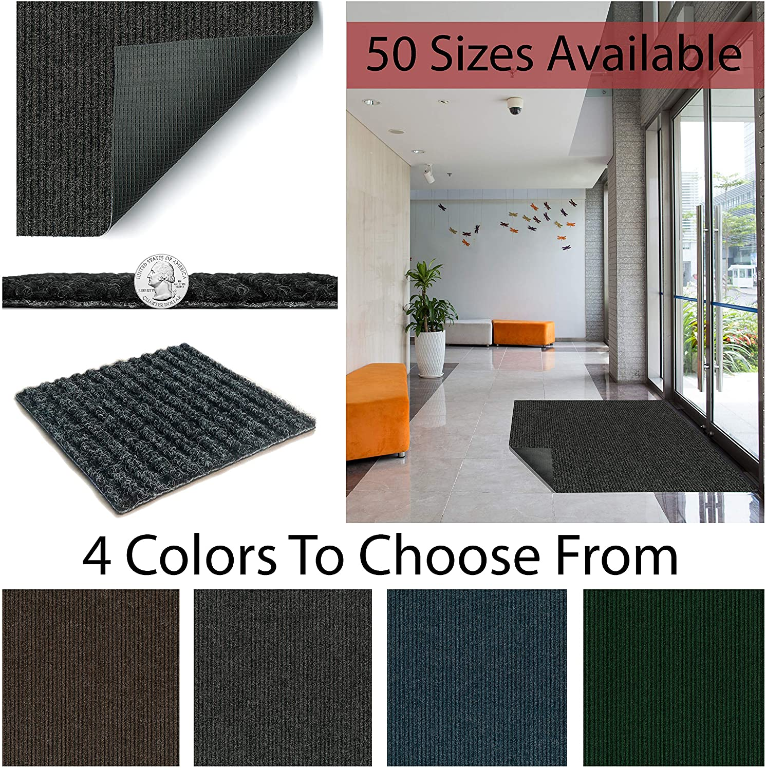 4 x 8 heavy duty durable all weather indoor outdoor non slip entrance mat rugs and runners for office business building home garage front color