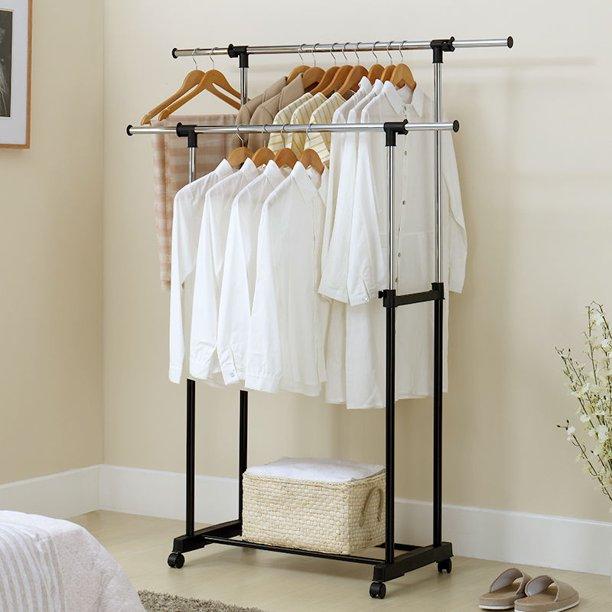 robot gxg rolling garment rack clothes rack on wheels adjustable double bar rail garment rack with shoe rack portable clothes hanger rolling