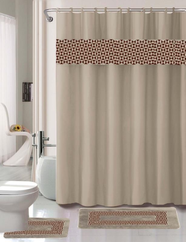 15pc taupe mosaic bathroom set printed banded rubber backing rug bath mats with fabric shower curtain and fabric covered shower hooks