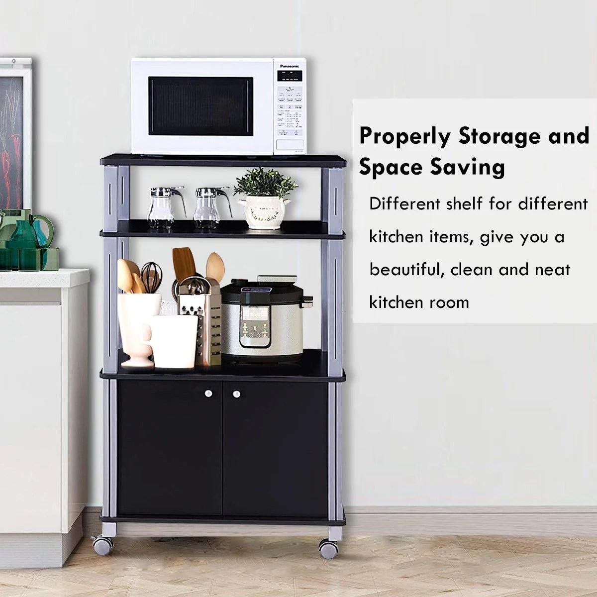 gymax bakers rack microwave stand rolling storage cart multi functional display black