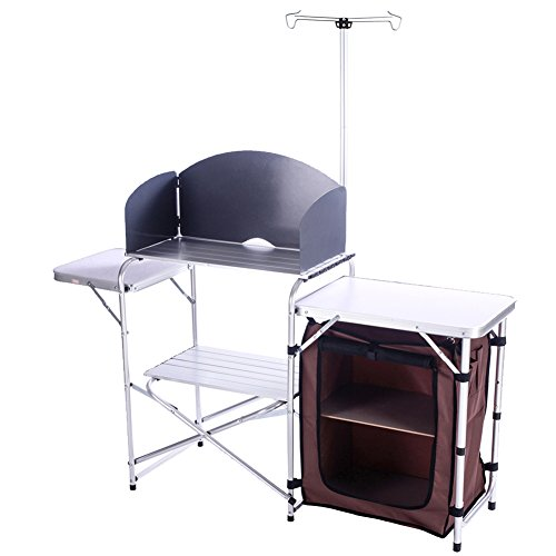 folding chair storage hooks nfl football helmet campland outdoor portable cook station cooking table aluminum camping kitchen with organizer windscreen for bbq party walmart com