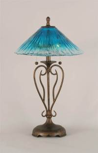 Olde Iron 2 Light Table Lamp w 16 in. Teal Crystal Glass ...