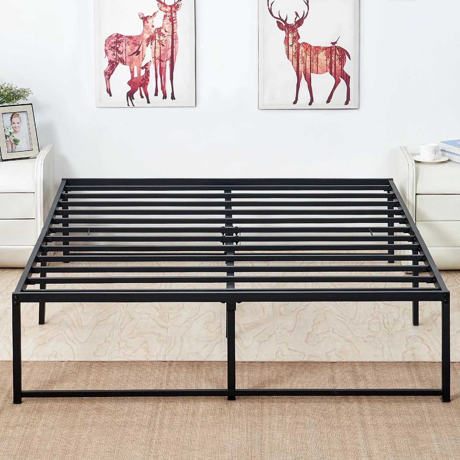 metal platform bed frame full size with storage no headboard mattress foundation no need for box spring
