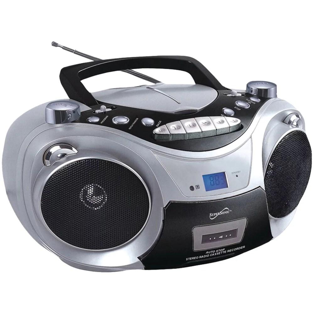 medium resolution of supersonic sc 709 silver portable mp3 cd player with cassette recorder am fm radio silver walmart com