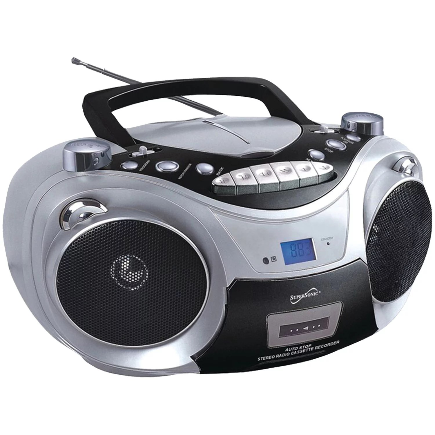 hight resolution of supersonic sc 709 silver portable mp3 cd player with cassette recorder am fm radio silver walmart com