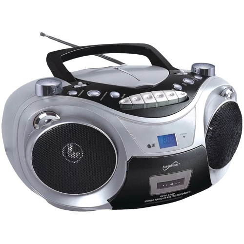 small resolution of supersonic sc 709 silver portable mp3 cd player with cassette recorder am fm radio silver walmart com