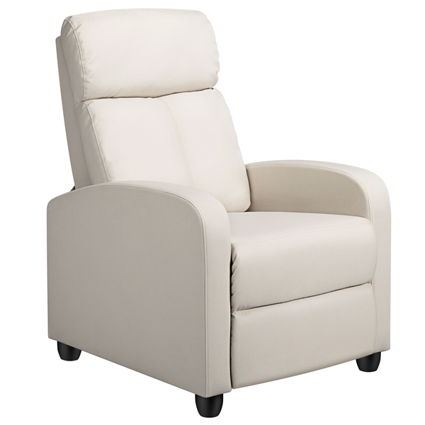 easyfashion faux leather soft cushioned push back recliner with footrest beige