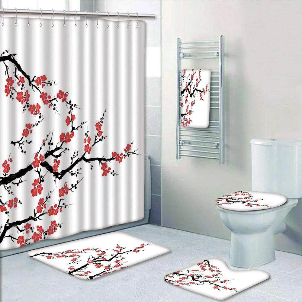 prtau japanese simplistic cherry blossom tree asian botanic fresh organic lines red 5 piece bathroom set shower curtain bath towel bath rug contour