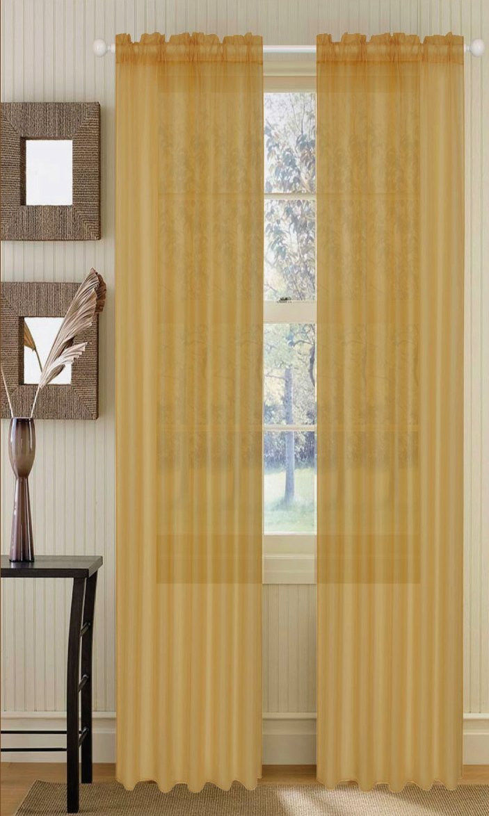 set of 2 sheer voile window curtain panels 84 long gold