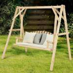 Rustic Wooden Porch Swing Bench With A Frame Stand Set Walmart Com Walmart Com