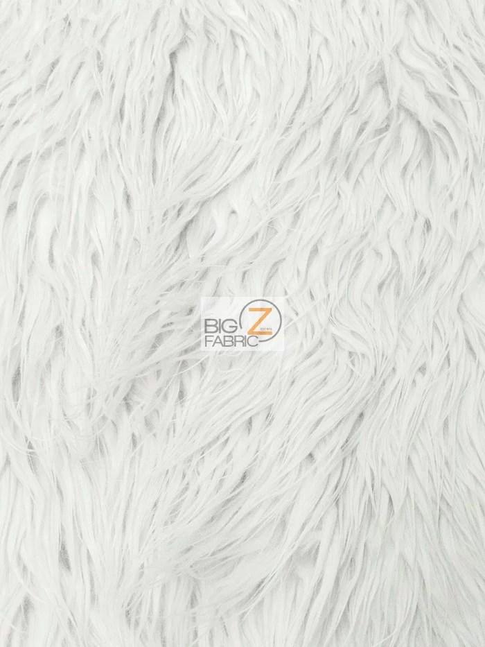 Faux Fake Fur Solid Mongolian Long Pile Fabric / White
