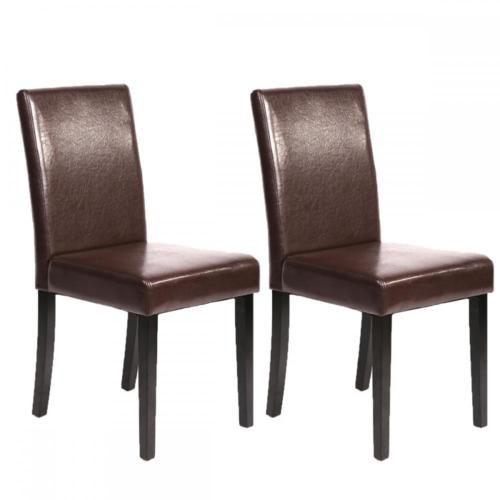 Set Of 2 Brown Leather Contemporary Elegant Design Dining