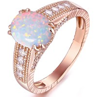 White Fire Opal 18kt Rose Gold-Tone Engagement Ring ...