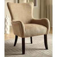 Casual Beige Living Room Accent Chair with Nailhead Trim ...