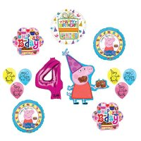 Peppa Pig 4th Birthday Party Balloon supplies and ...