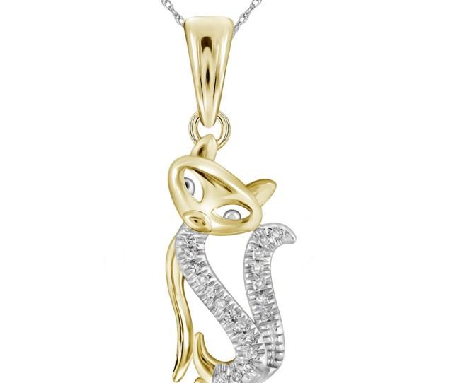 Kt Yellow Gold Womens Round Diamond Kitty Cat Animal Pendant   Cttw
