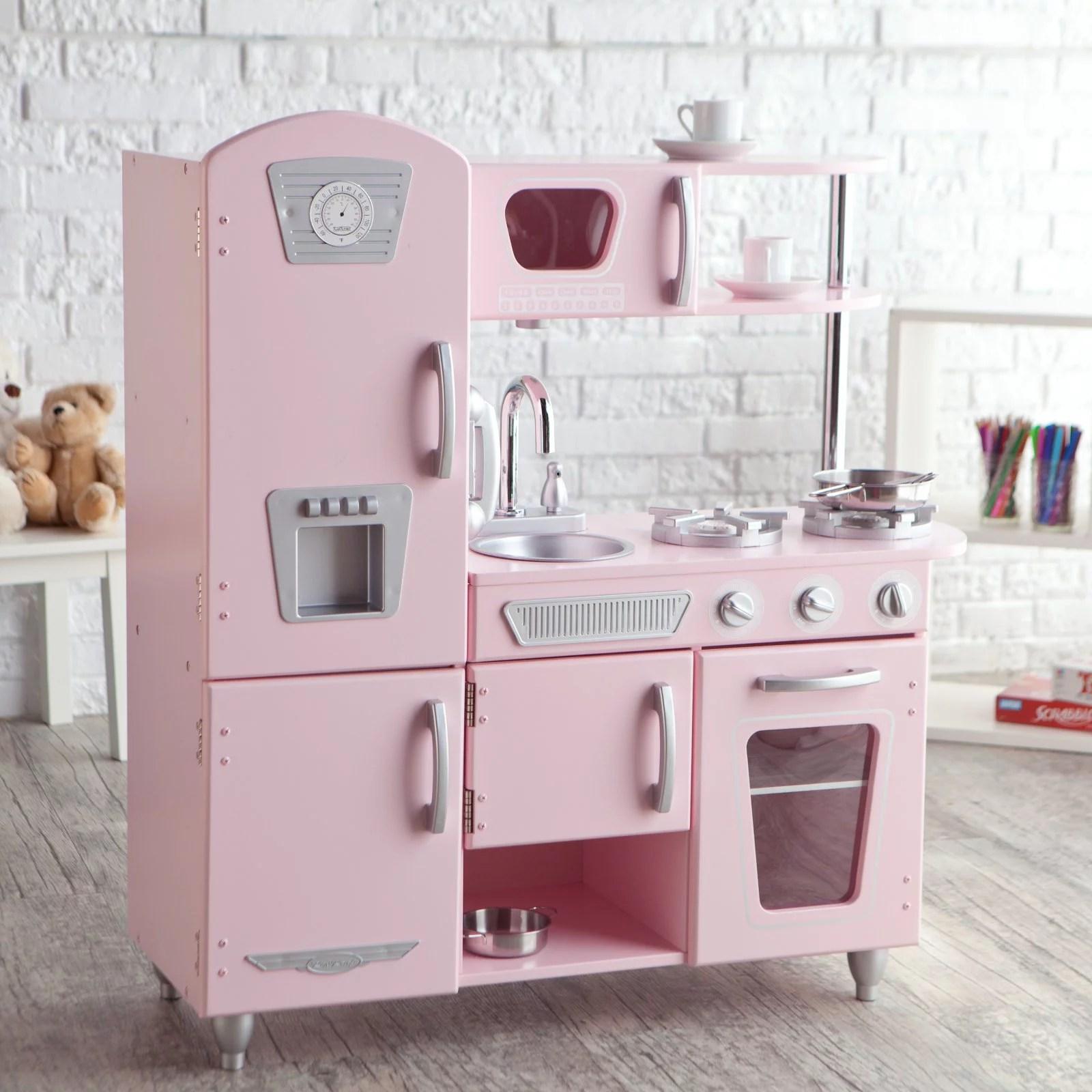 KidKraft Vintage Wooden Play Kitchen in Pink  Walmartcom