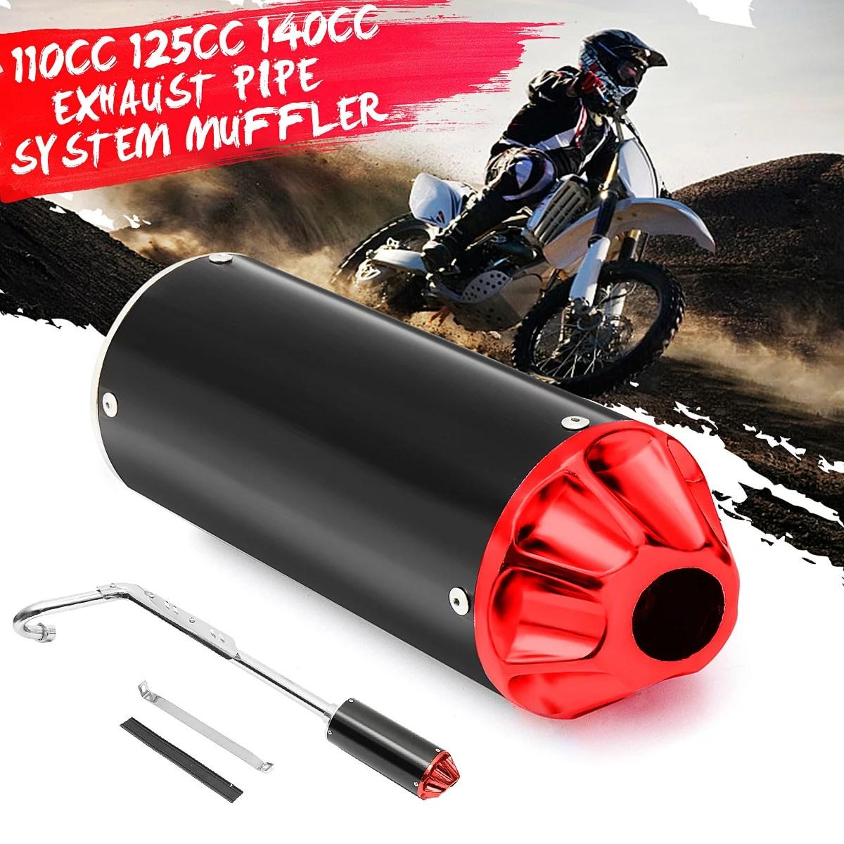 performance cnc exhaust pipe system muffler kit 110cc 125cc 140cc pit dirt bike