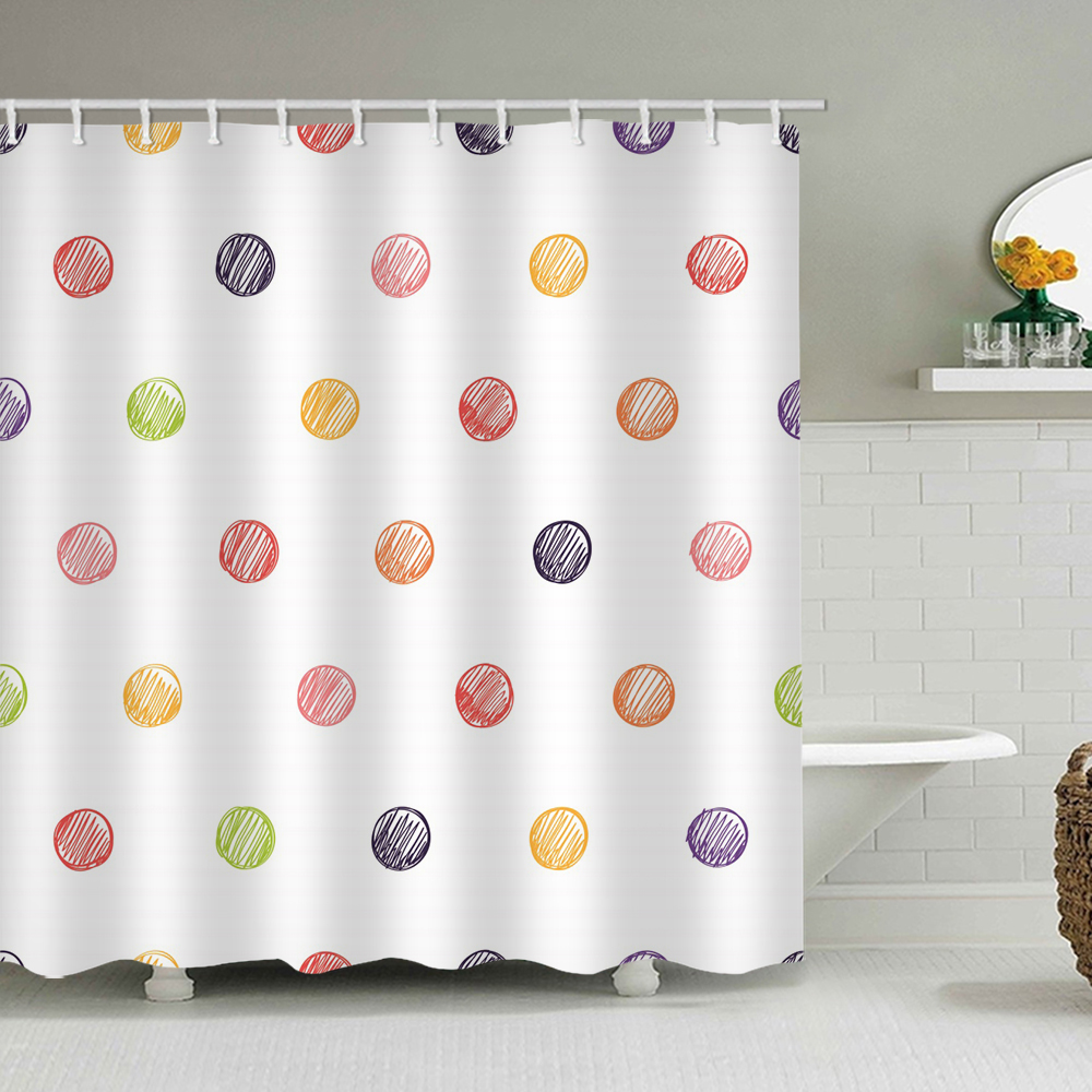 hand painting shower curtain set graffiti colourful circle white background bathroom decor waterproof polyester fabric accessories bath
